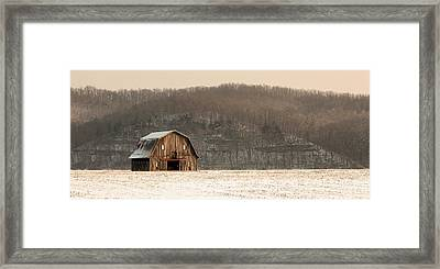 Framed Print featuring the photograph Frechman Barn - Winter by Wayne Meyer