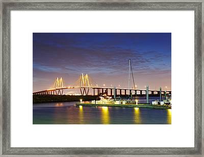 Fred Hartman Bridge From Bayland Marina - Houston Texas Framed Print by Silvio Ligutti