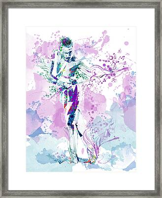 Freddie Mercury Waterolor Style Framed Print by Bekim Art