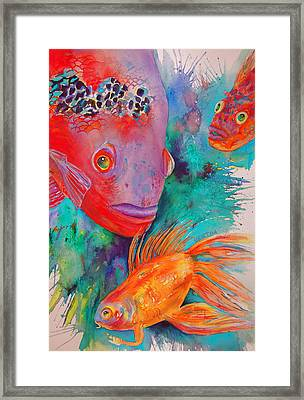 Framed Print featuring the painting Freddy Fish And Friends by Karen bertha Calderon