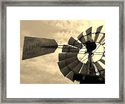 Fredericksburg Herb Farm Aermotor Windmill Sepia Framed Print by Elizabeth Sullivan
