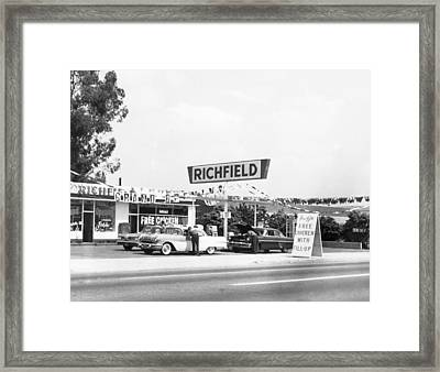 Free Chicken With Gas Fill-up Framed Print by Underwood Archives