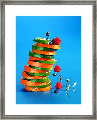 Free Falling Bodies Experiment On Fruit Tower Framed Print