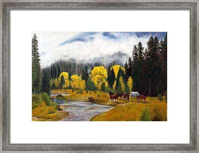 Framed Print featuring the painting Free Grazers by Rick Fitzsimons