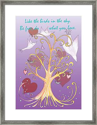Free Like A Bird Words Of Wisdom Framed Print by Birgitta Serine Kvelland