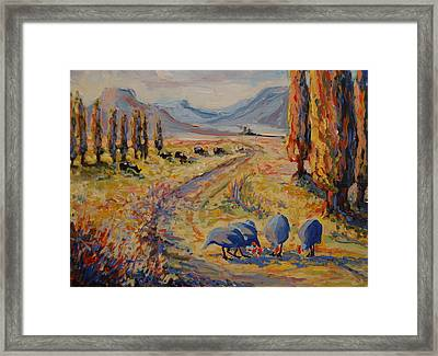 Free State Landscape With Guinea Fowl Framed Print