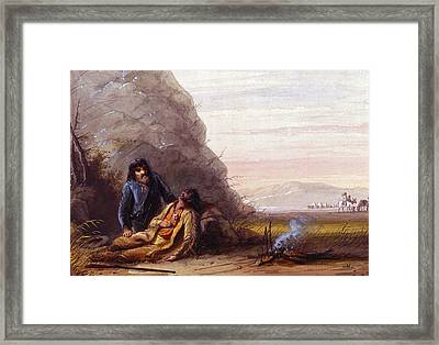Free Trappers In Trouble Framed Print by Alfred Jacob Miller