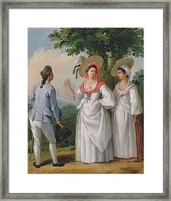 Free West Indian Creoles In Elegant Dress, C.1780 Oil On Canvas Framed Print
