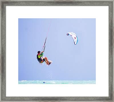 Freedom  Miami Beach Kitesurfing Framed Print by Mr Bennett Kent