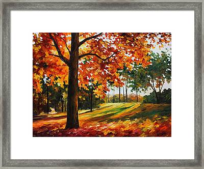 Freedom Of Autumn - Palette Knife Oil Painting On Canvas By Leonid Afremov Framed Print