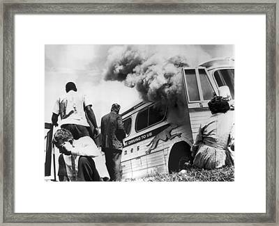 Freedom Riders Bus Burned Framed Print by Underwood Archives