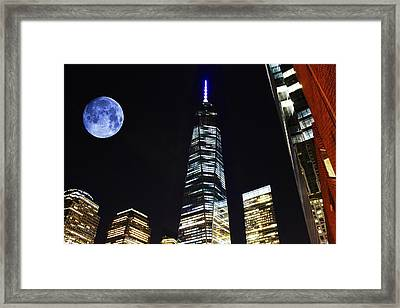 Freedom Tower And Blue Moon Framed Print