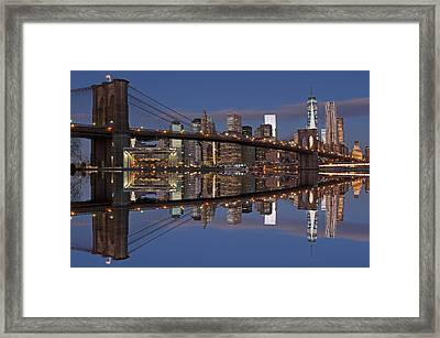 Freedom Tower And Brooklyn Bridge Framed Print by Juergen Roth