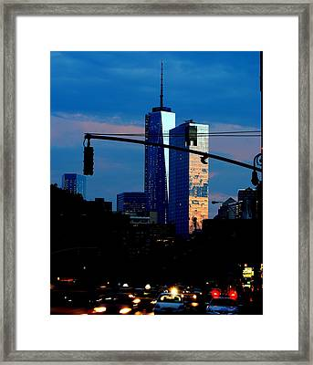Freedom Tower New York Ny At Dusk Framed Print by Ron Bartels