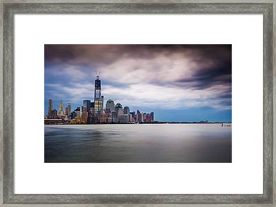 Freedom Tower Over The Hudson Framed Print by Chris Halford