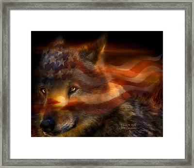 Freedom Wolf Framed Print by Carol Cavalaris