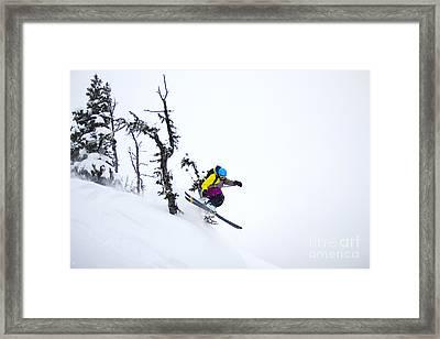 Freeride Ski - Skier Jumping In The Backcountry Framed Print by Alejandro Moreno de Carlos