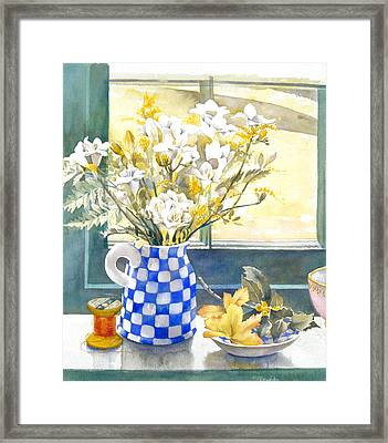 Freesias And Chequered Jug Framed Print