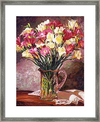 Freesias In Crystal Pitcher Framed Print