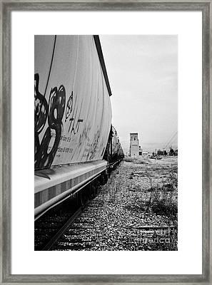 freight grain trucks on canadian pacific railway through assiniboia Saskatchewan Canada Framed Print