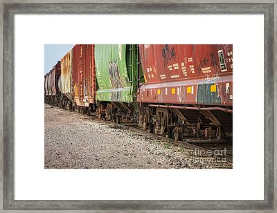 Framed Print featuring the photograph Freight Train Cars On Tracks by Bryan Mullennix