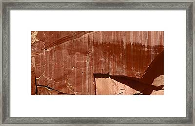 Fremont Culture Petroglyphs In Utah Framed Print