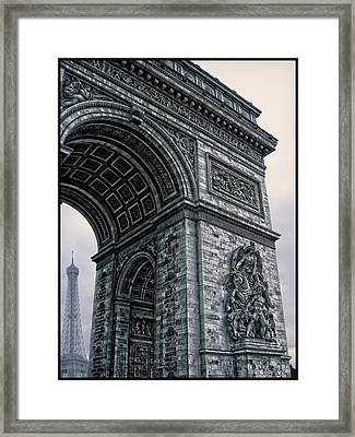 French - Arc De Triomphe And Eiffel Tower II Framed Print by Lee Dos Santos
