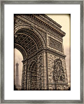 French - Arc De Triomphe And Eiffel Tower IIi Framed Print by Lee Dos Santos