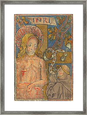 French 15th Century, The Man Of Sorrows With A Franciscan Framed Print