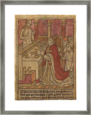 French 15th Century, The Mass Of Saint Gregory Recto Framed Print