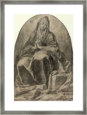French 17th Century, The Grieving Virgin Contemplating Framed Print by Litz Collection