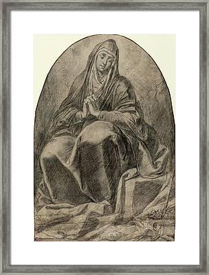 French 17th Century, The Grieving Virgin Contemplating Framed Print by Quint Lox