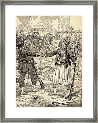 French And Sardinian Soldiers Shaking Hands To Celebrate Their Victory Against The Austrians Framed Print by Bridgeman Images