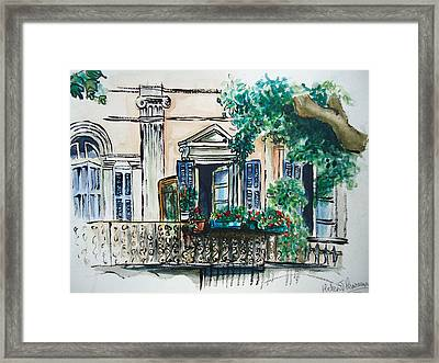 French Balcony Framed Print by Helen J Pearson