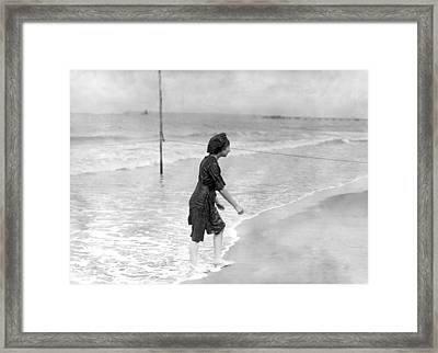 French Bathing Suit Fashion Framed Print by Underwood Archives