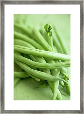 French Beans On Green Background (detail) Framed Print