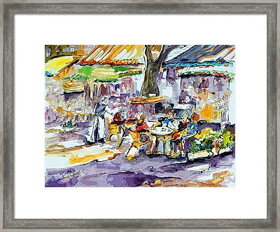 French Bistro Street Scene Framed Print by Ginette Callaway