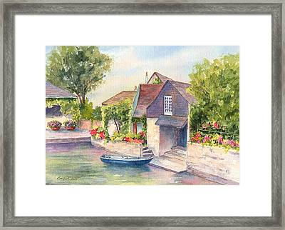 French Boathouse  Azay Le Rideau Framed Print by Vikki Bouffard