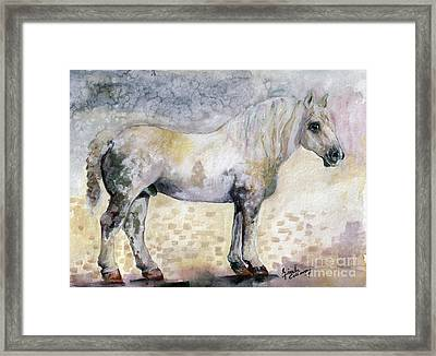 Framed Print featuring the painting French Breed Percheron Stallion by Ginette Callaway