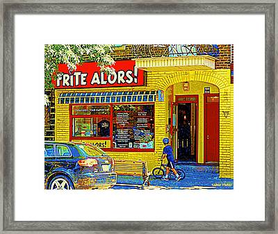French Cafe Frite Alors Sandwich And Fries Shop Rue Laurier Montreal City Scene Art Carole Spandau Framed Print by Carole Spandau