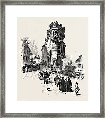 French Canadian Life, Old Houses At Point Levis Framed Print by Canadian School
