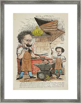French Caricature - Maitr Et Apprenti Framed Print by British Library