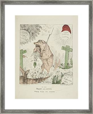 French Caricature - Partit En Guerre Framed Print by British Library