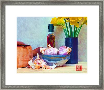 French Casserole And Daffodils IIi Framed Print