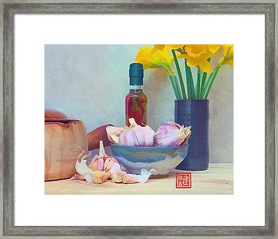 French Casserole And Daffodils Iv Framed Print