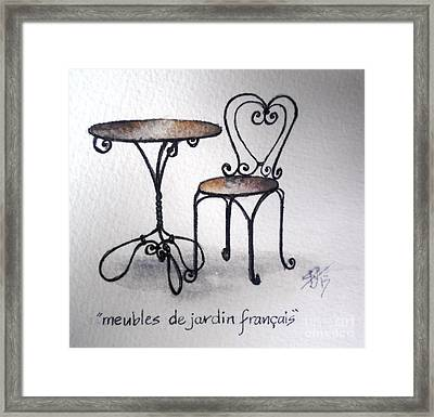 French Chair And Table Framed Print