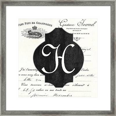 French Champagne Monogram Framed Print by Debbie DeWitt