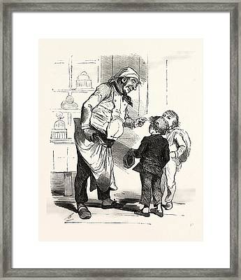 French Cook Talking With Two Children, Europe Framed Print