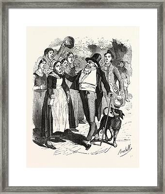 French Count And His Dog On A Walk In The Village Framed Print by French School