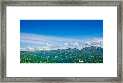 French Countryside With The Alps In The Distance Framed Print